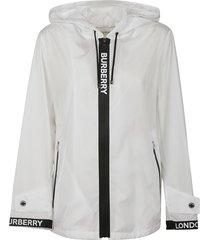 burberry logo zipped hoodie
