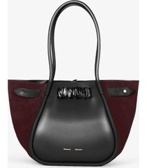proenza schouler large suede ruched tote black/chocolate plum one size