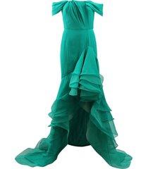 cascade ruffle gown