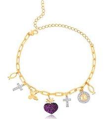 pulseira francisca joias pingentes religiosos folheado ouro 18k feminina