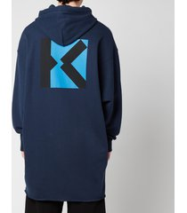 kenzo men's sport long hooded sweatshirt - midnight blue - xl