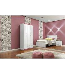 guarda roupa briz be16 3 portas 2 gavetas branco/branco rosa-chá flex
