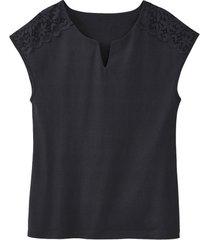 shirt met kant, zwart 36/38