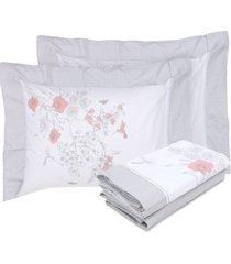 jogo de cama  casal giardino percal 200 - cinza - dafiti
