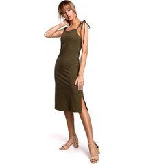 korte jurk moe m516 midi-jurk met spaghettibandjes - kaki
