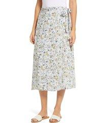 women's caslon faux wrap midi skirt, size small - ivory
