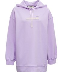 msgm lilac cotton hoodie with logo