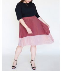 ori women's plus size asymmetric pleated midi skirt