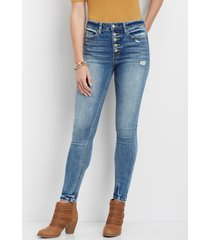 flying monkey™ womens vintage high rise buttonfly skinny jeans blue - maurices