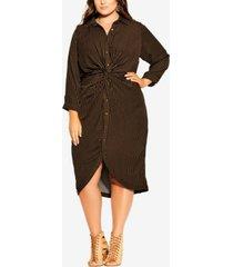 city chic women's trendy plus size twisted stripe dress