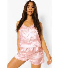 satijnen kanten honeymoon pyjama met hemdje met racer rug, blush