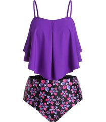 flounce floral underwire plus size tankini swimwear