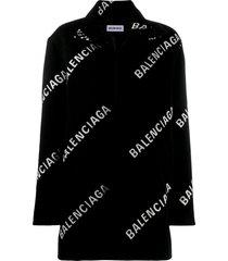 balenciaga all-over logo a-line coat - black