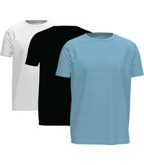 tommy hilfiger 3-pack t-shirts heren ronde hals stretch - blauw/wit/zwart