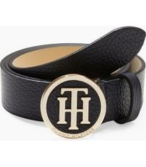 tommy hilfiger women's round buckle belt sky captain - 36