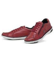 tenis sapatênis couro bergally recortes vermelho