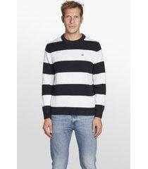 ckj stripes cotton sweater negro calvin klein