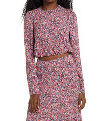 women's afrm reca floral tie back top, size x-large - pink