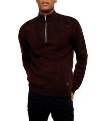 men's topman half zip plaited mock neck sweater, size xx-small - burgundy