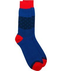 etro mix print knit socks - blue