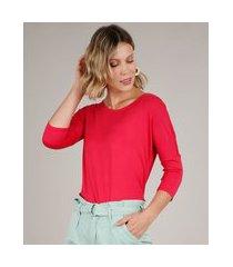blusa feminina ampla básica manga 7/8 decote redondo vermelha