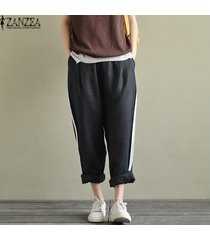 zanzea ocasional de las mujeres del tamaño extra grande de rayas pantalones sueltos pantalones largos de cintura alta -negro