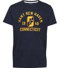 d1. gant varsity ss t-shirt t-shirts short-sleeved blå gant