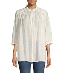 gathered button-front top