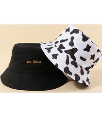 2pcs letters cow print bucket hat set