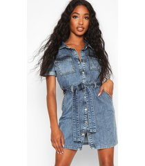 acid wash belted shirt dress, mid blue