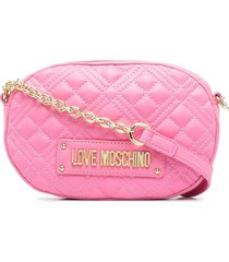 love moschino quilted oval satchel bag - pink