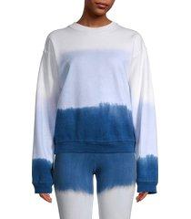 hard tail women's tie-dyed cotton sweatshirt - blue multi - size l