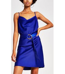 river island womens blue cowl neck belted slip dress