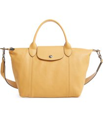 longchamp le pliage cuir leather shoulder bag - brown