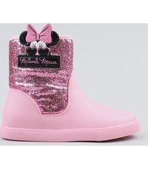 bota galocha infantil grendene minnie com glitter rosa