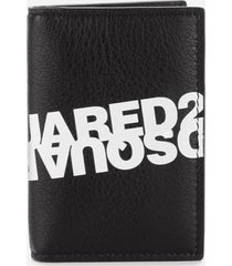 dsquared2 men's mirror logo card case - nero bianco