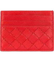 bottega veneta intrecciato weave leather card holder - red