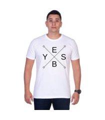 camiseta yes basic t shirt estampada gola redonda branca