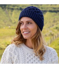 womens deep water blue cozy aran hat