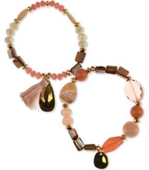 style & co 2-pc. set stone & tassel beaded stretch bracelets, created for macy's