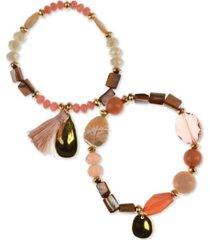 style & co 2-pc. set stone & tassel beaded stretch bracelets, created for macy's