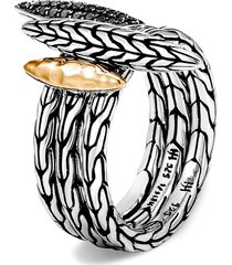 women's john hardy classic chain hammered spear two-tone stacking ring set
