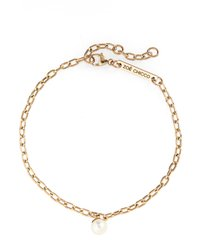 zoe chicco cultured pearl charm bracelet, size 7 in in yellow gold at nordstrom