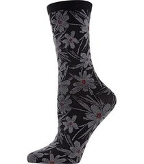 natori abstract floral crew socks, women's, black natori