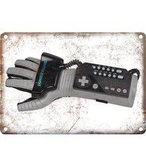 "original nintendo power glove, vintage gaming 10"" x 7"" reproduction metal sign"