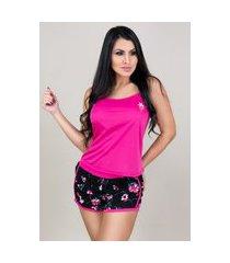 pijamas mvb modas curto adulto  regata e short doll rosa