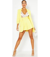 woven tailored ruched sleeve blazer, yellow