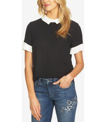 cece colorblocked collared blouse