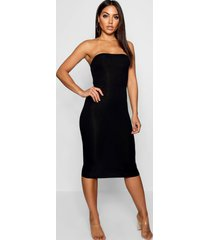 bandeau bodycon midi dress, black