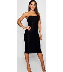 bandeau bodycon midi dress, black